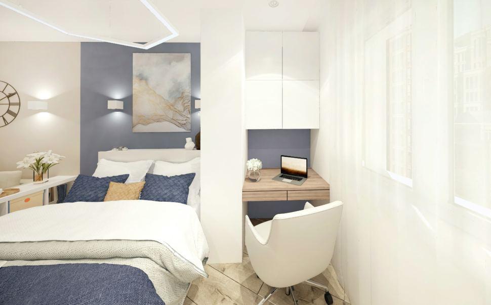 Визуализация гостиной-спальни в белых тонах с синими оттенками 15 кв.м, кровать, рабочий стол, белое кресло