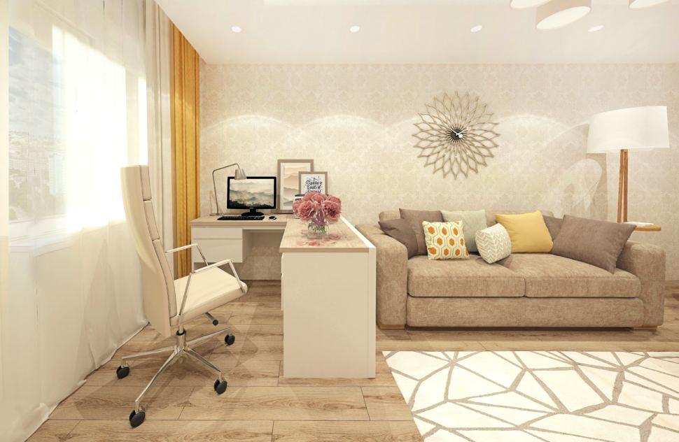 Дизайн гостиной 18 кв.м в теплых тонах, бежевое офисное кресло, бежевый диван, торшер, белый компьютерный стол