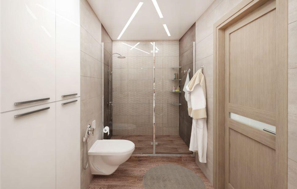 Дизайн-проект ванной комнаты в белых тонах 8 кв.м, белый шкаф, унитаз, душевая кабина, вешалка, серый коврик