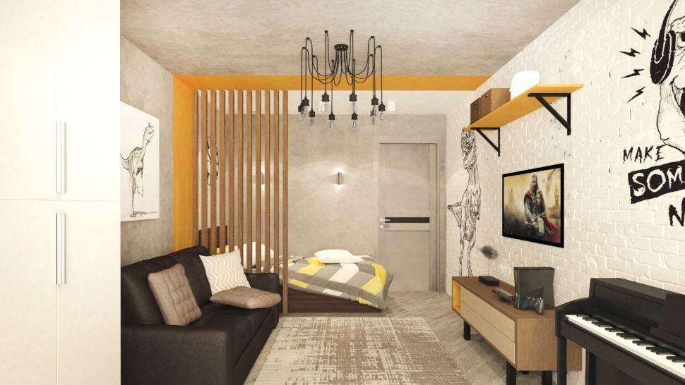 Дизайн интерьера детской комнаты в теплых тонах с оранжевыми оттенками 22 кв.м, черный диван, серый ковер