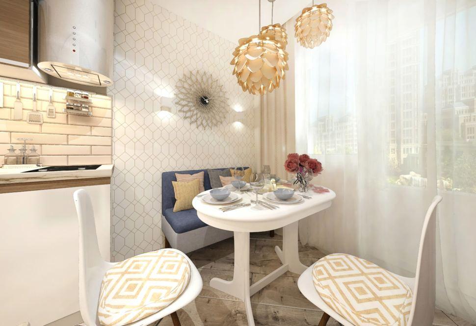 Дизайн интерьера кухни в белых тонах 10 кв.м, обеденный стол, синий диван, белый кухонный гарнитур, золотые светильники