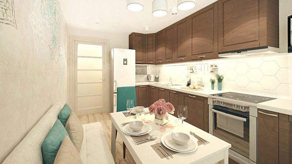 Визуализация кухни 11 кв.м с угловым диваном с бежевыми оттенками, люстра, бежевый угловой диван, холодильник, бирюзовые стулья