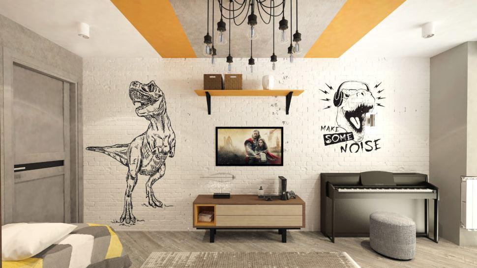 Дизайн-проект детской комнаты в теплых тонах с оранжевыми оттенками 22 кв.м, подвесная полка, полка под ТВ, серый пуф, пианино