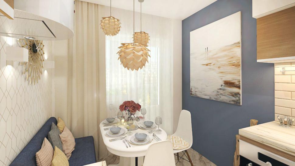 Дизайн-проект кухни в белых тонах 10 кв.м, белый обеденный стол, синий диван, белые обеденные стулья, золотые подвесные светильники