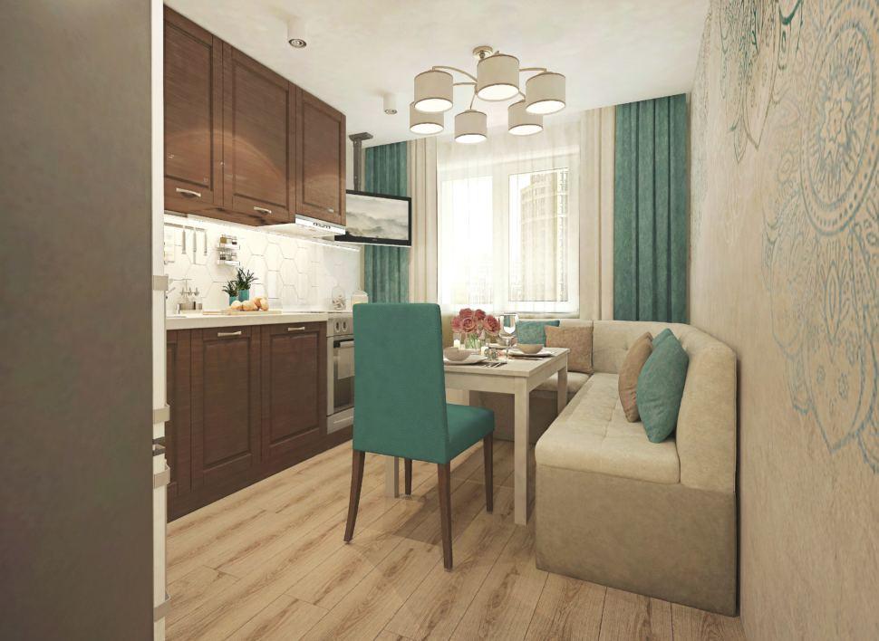 Дизайн кухни 11 кв.м с бирюзовыми оттенками, телевизор, плита, изумрудные стулья, бежевый угловой диван, фреска