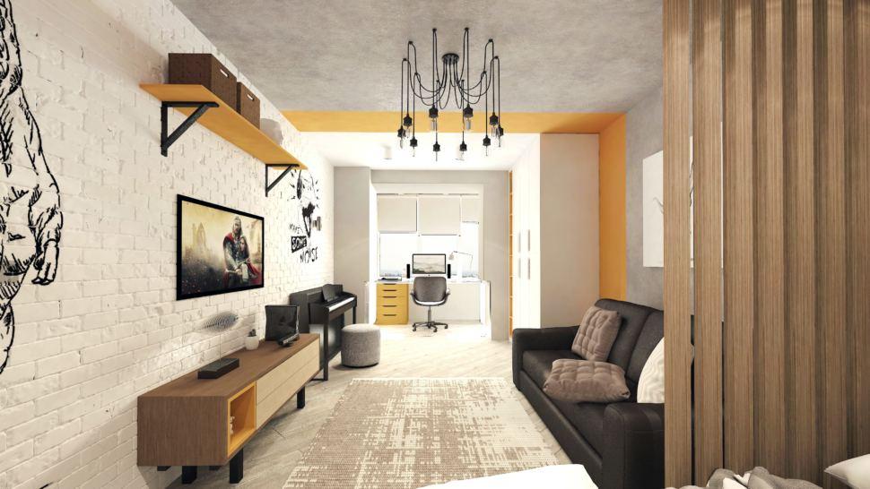 Визуализация детской комнаты в теплых тонах с оранжевыми оттенками 22 кв.м, тумба под ТВ древесного цвета, желтая подвесная полка