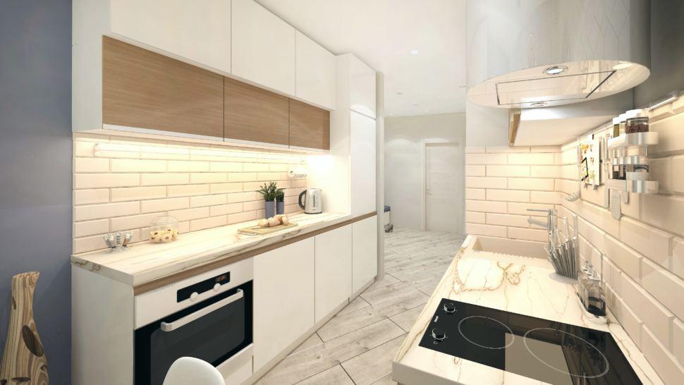 Визуализация кухни в белых тонах 10 кв.м, духовой шкаф, плита, белый кухонный гарнитур, полки, столешница