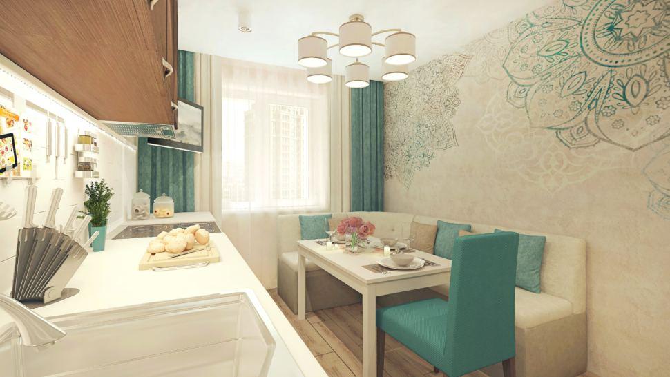 Визуализация кухни 11 кв.м с угловым диваном с бежевыми оттенками, люстра, бежевый угловой диван, холодильник, кухонный гарнитур