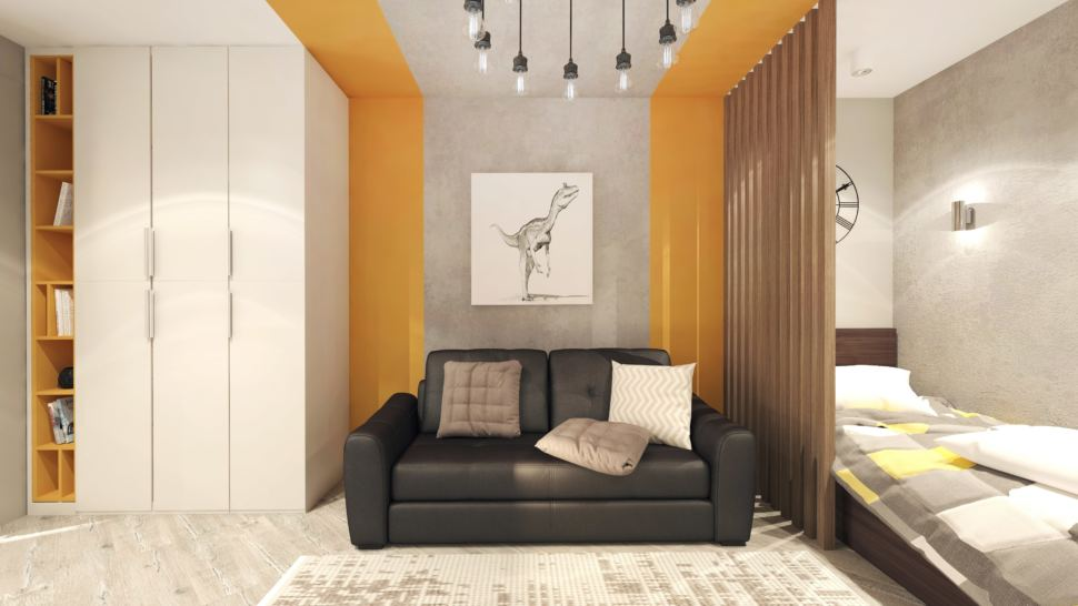 Дизайн интерьера детской комнаты в теплых тонах с оранжевыми оттенками 22 кв.м, черный диван, люстра, кровать, часы