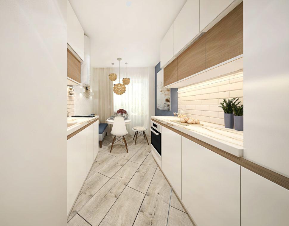 Визуализация кухни 10 кв.м в светло-бежевых тонах с древесными оттенками, белый кухонный гарнитур, обеденный стол