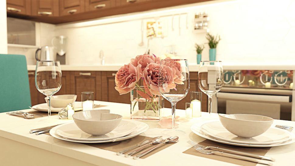 Дизайн интерьера кухни 11 кв.м с угловым диваном с древесными и бирюзовыми оттенками, люстра, бежевый угловой диван, холодильник