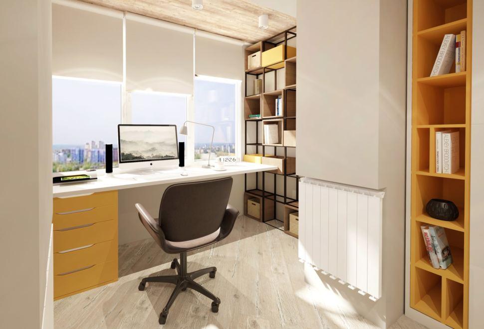 Дизайн-проект детской комнаты в теплых тонах с оранжевыми оттенками 22 кв.м, черный стеллаж, офисное кресло, рабочий стол