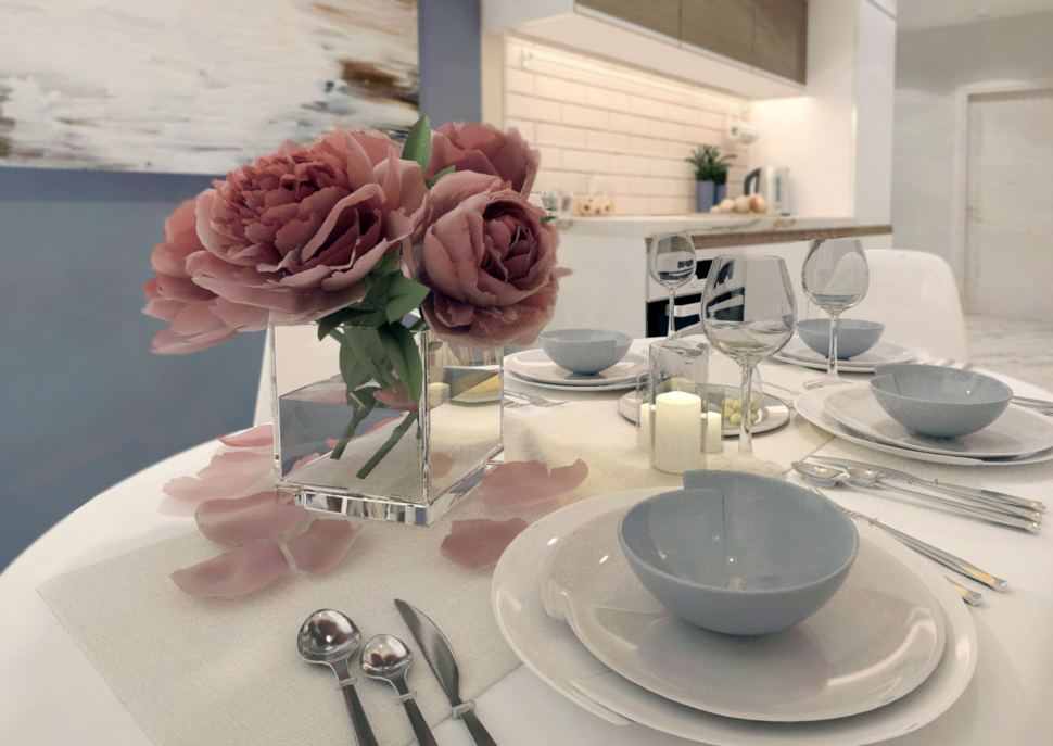 Визуализация кухни в белых тонах 10 кв.м, белый обеденный стол, белый кухонный гарнитур, белые обеденные стулья, светильники