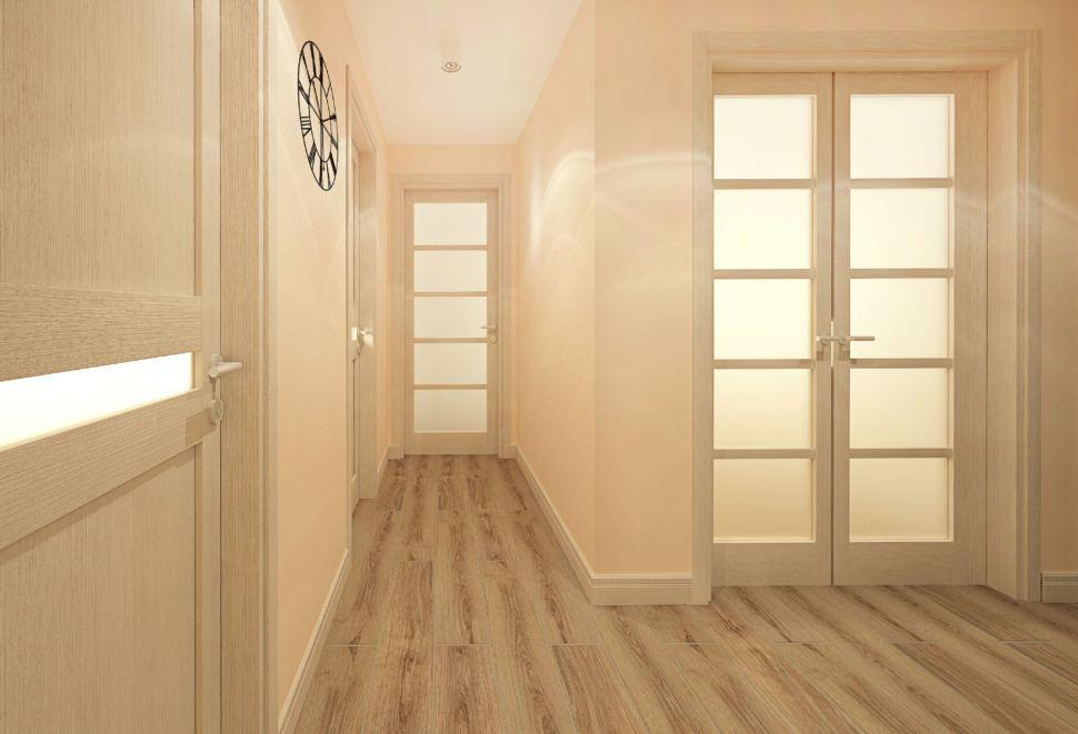 Дизайн интерьера прихожей с гардеробной 9 кв.м в современном стиле с шоколадными оттенками, гардеробная, зеркало, бежевая скамья, вешалка, часы