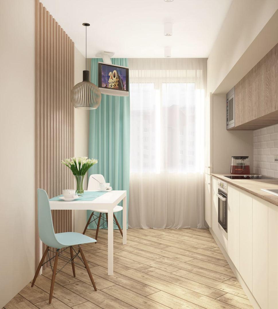 Дизайн интерьера кухни 10 кв.м в современном стиле с белыми оттенками, белый кухонный гарнитур, подвесной светильник, телевизор, духовой шкаф