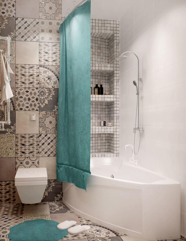 Визуализация ванной комнаты 4 кв.м. Асимметричная ванна,полочки - ниши, подвесной унитаз, керамическая плитка - орнамент