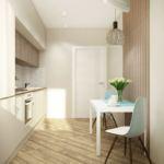 Дизайн кухни 10 кв.м в белых тонах с акцентами, кухонный гарнитур, стол, подвесной светильник, стулья