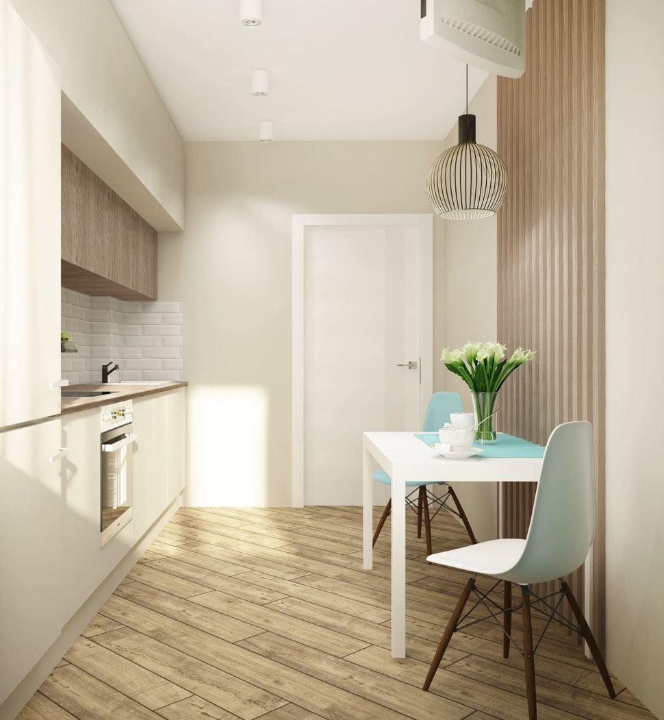 Визуализация кухни 10 кв.м в современном стиле с бежевыми оттенками, белый кухонный гарнитур, подвесной светильник, телевизор, духовой шкаф