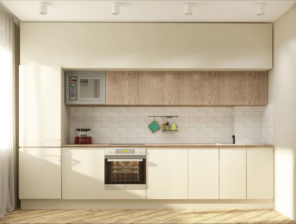 Дизайн-проект кухни 10 кв.м в современном стиле с древесными оттенками, белый кухонный гарнитур, подвесной светильник, духовой шкаф