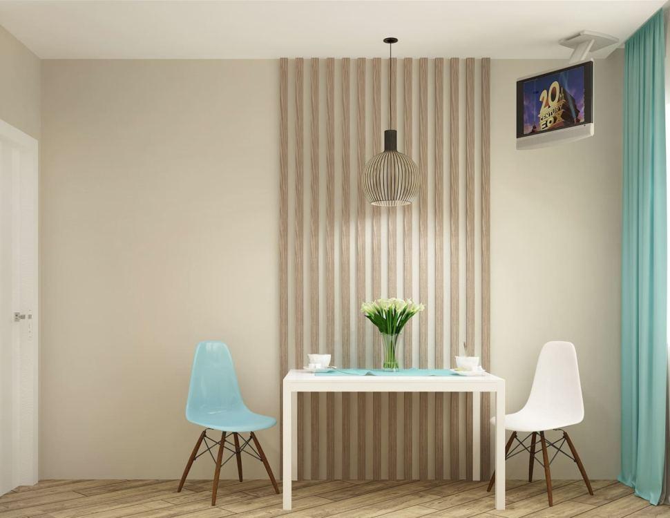 Дизайн интерьера кухни 10 кв.м в современном стиле с бирюзовыми оттенками, белый кухонный гарнитур, подвесной светильник, телевизор, голубой стул