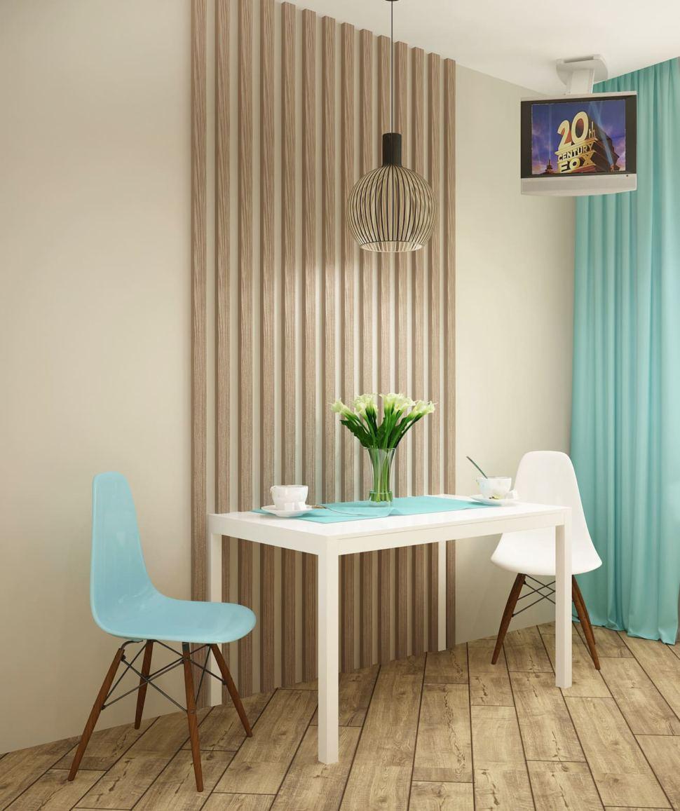 Дизайн-проект кухни 10 кв.м в современном стиле с бежевыми оттенками, белый кухонный гарнитур, подвесной светильник, телевизор