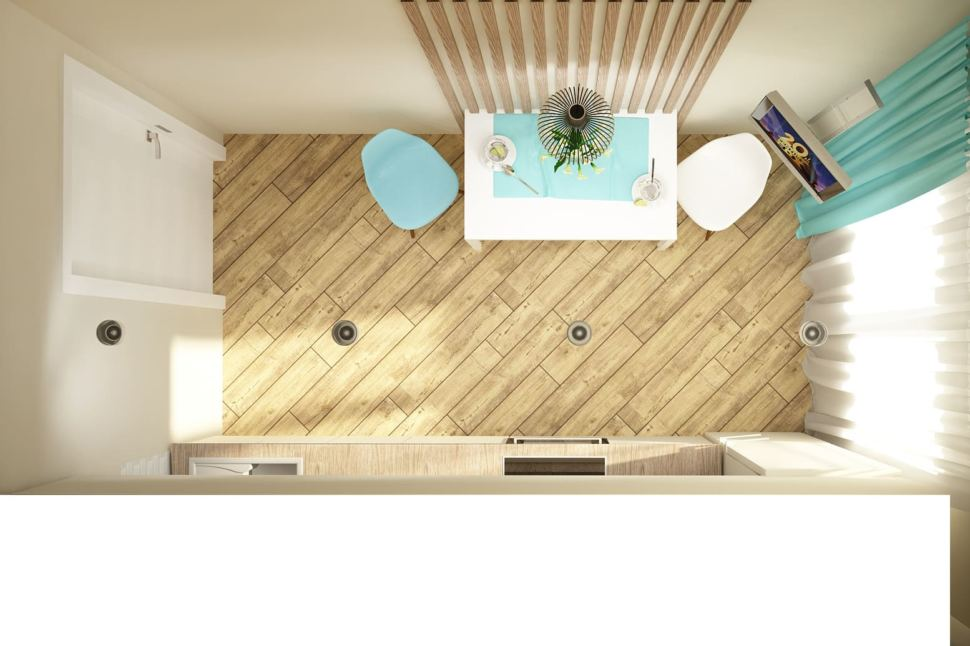 Визуализация кухни 10 кв.м в современном стиле с бирюзовыми оттенками, белый кухонный гарнитур, подвесной светильник, белый обеденный стол