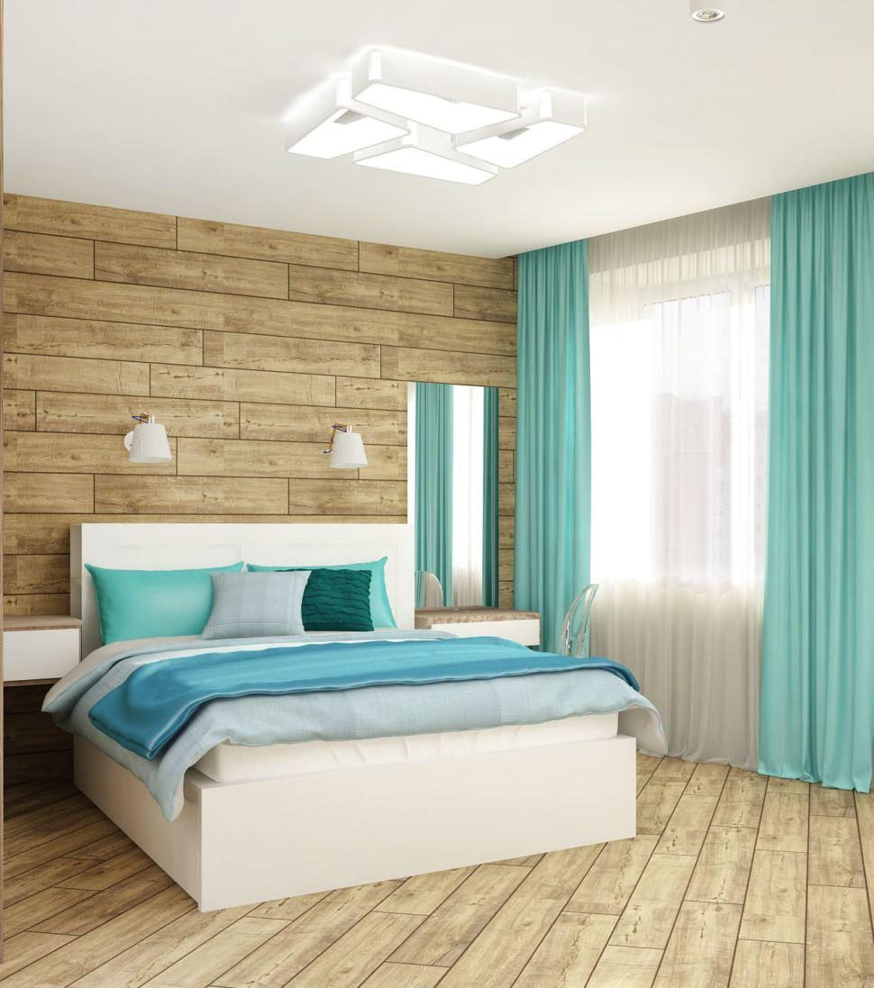 Дизайн спальни 33 кв.м с бирюзовыми тонами, белая кровать, зеркало, прикроватная тумба, бирюзовые портьеры