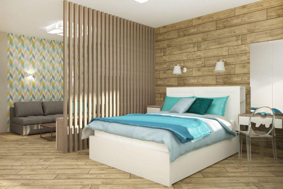 Визуализация спальни 33 кв.м в светлых тонах, перегородка из брусков, белая кровать, зеркало, серый диван