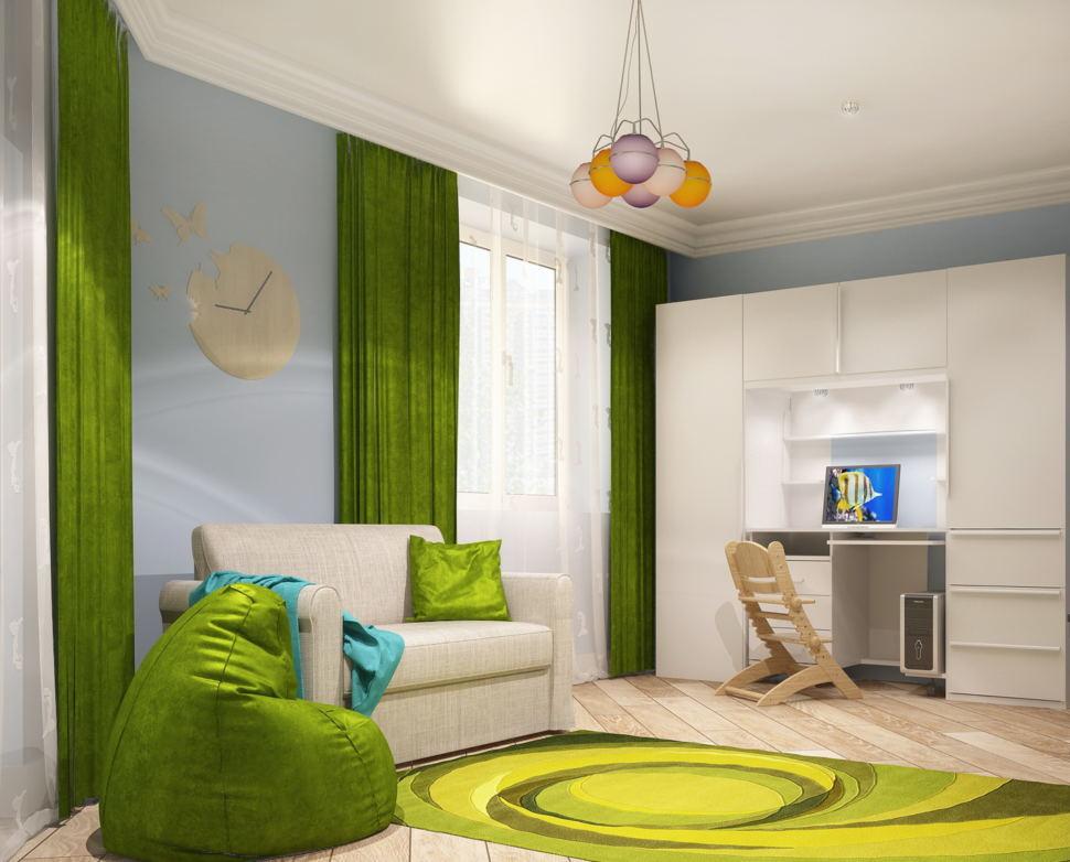 Проект комнаты для девочки 21 кв.м, зеленое кресло-мешок, белый диван, шкаф, люстра, зеленные портьеры