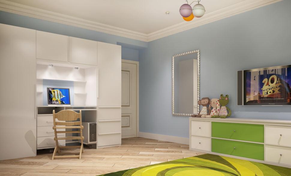 Интерьер комнаты для девочки 21 кв.м, зеркало, белый шкаф, стол, стул, белая тумба, люстра, зеленый ковер