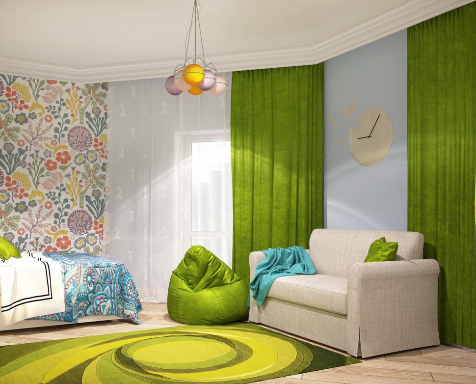 Дизайн интерьера комнаты для девочки 21 кв.м, белый диван, часы, люстра, зеленое кресло-мешок, ковер, бежевый паркет