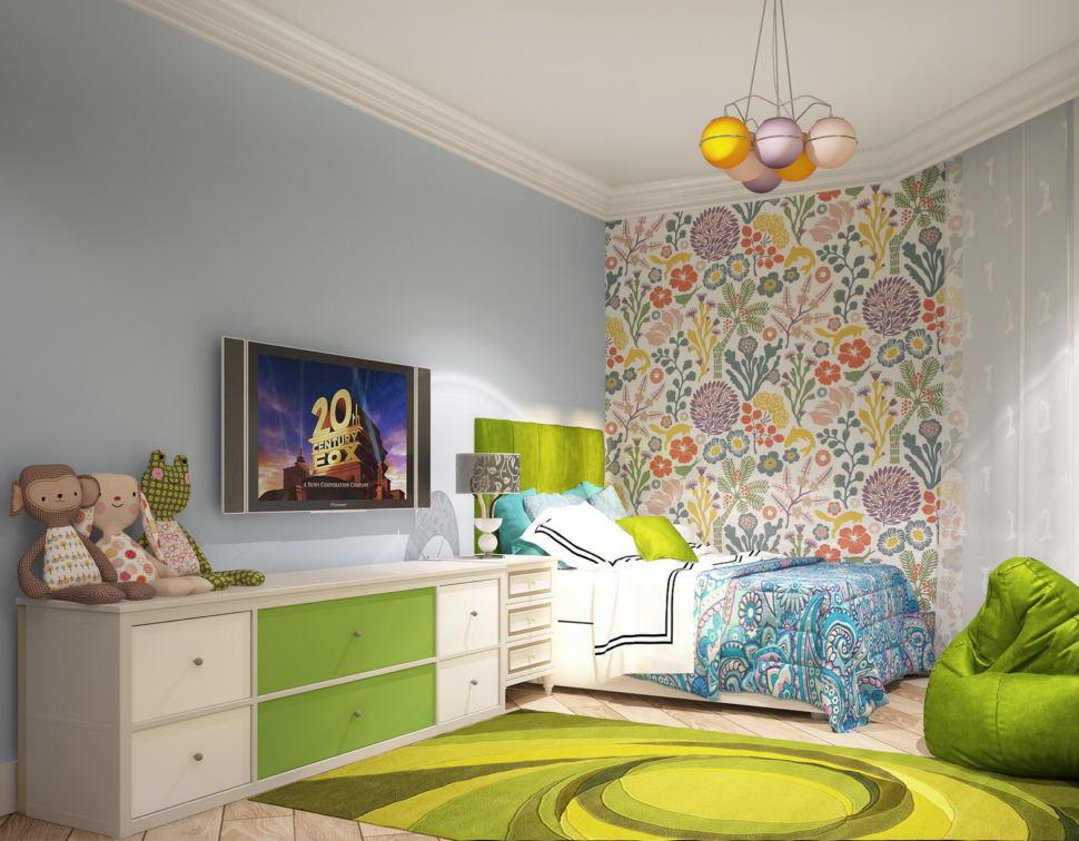 Визуализация комнаты для девочки 21 кв.м, кровать, белая прикроватная тумба, люстра, кресло-мешок, белая тумба, телевизор