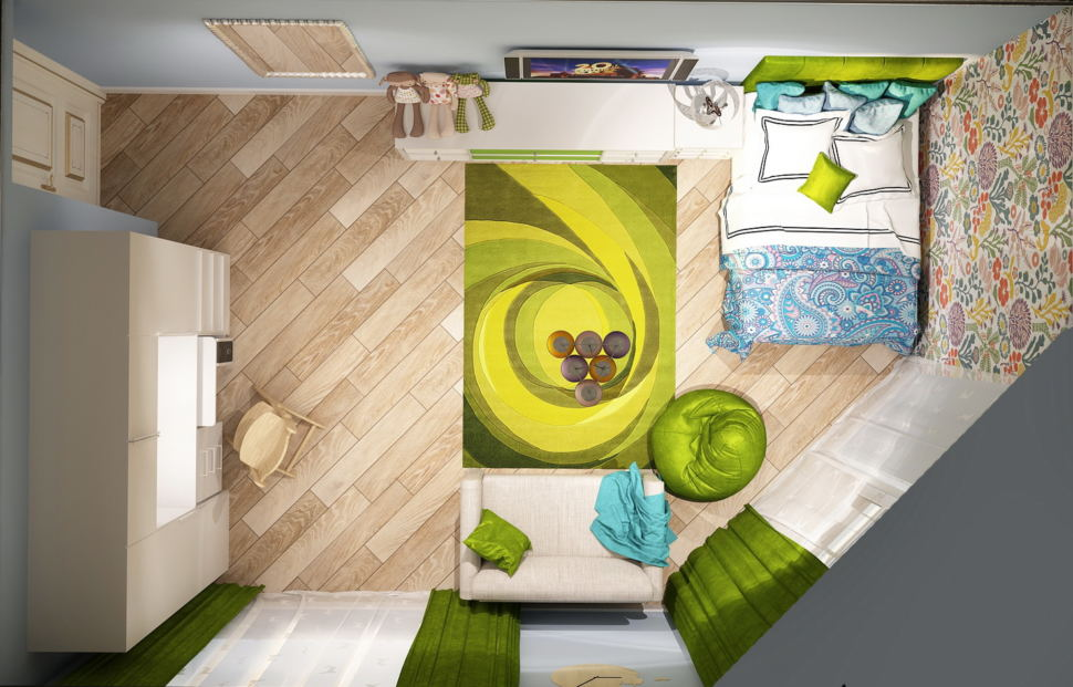 Дизайн-проект детской для девочки 21 кв.м, зеленое кресло-мешок, белый шкаф, кровать, белая тумба, белый диван