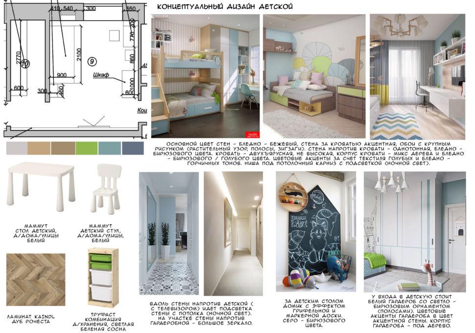 Концептуальный дизайн детской 15 кв.м, ламинат, белый детский стол, детский стул, комбинация для хранения, кровать