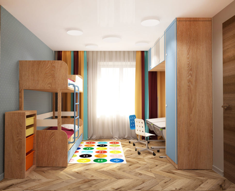 Визуализация детской комнаты в теплых тонах 15 кв.м, двухъярусная кровать, шкаф, полки, рабочий стол, голубой стул