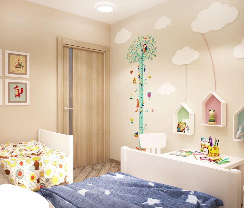 Визуализация детской комнаты в теплых тонах 8 кв.м, белый детский стол, детские стулья, фотообои, бежевый ламинат, белые кровати