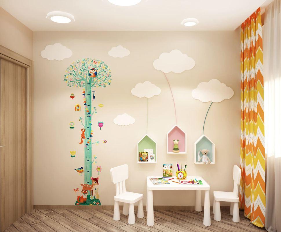 Дизайн-проект детской комнаты в теплых тонах 8 кв.м, белый детский стол, белые детские стулья, белые полки