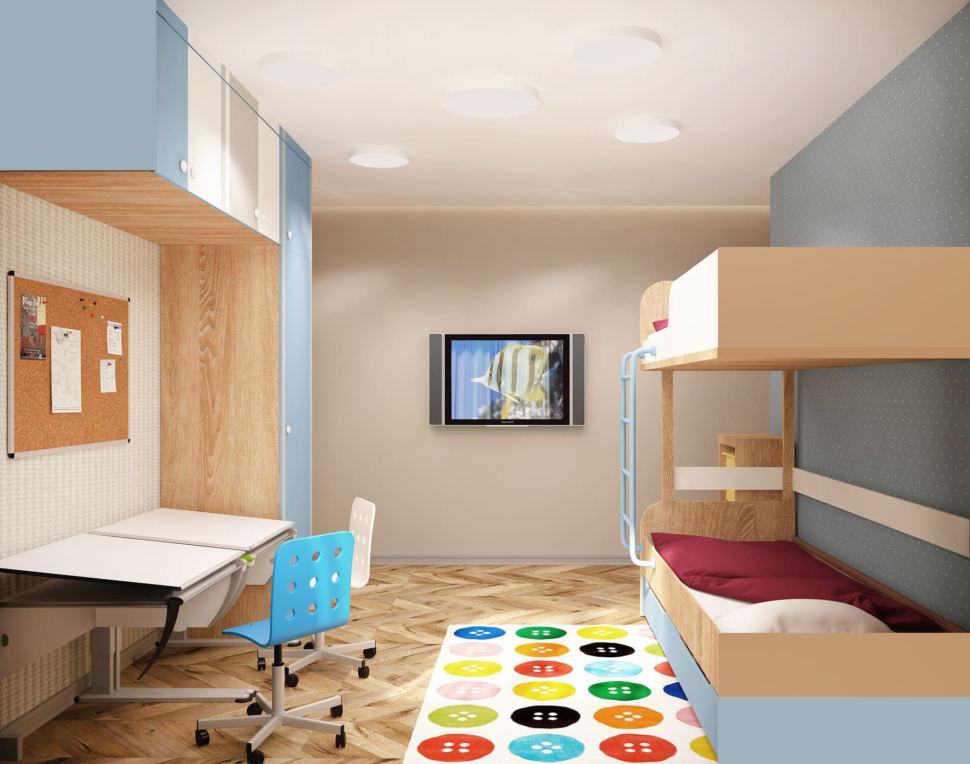 Дизайн интерьера детской комнаты в теплых тонах 15 кв.м, рабочий стол, голубой и белый офисный стул, голубой шкаф