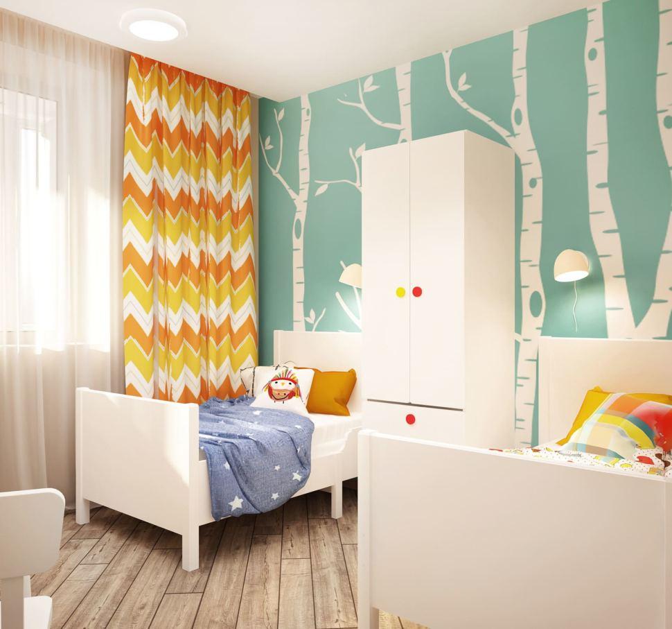 Дизайн интерьера детской комнаты в теплых тонах 8 кв.м, белый шкаф, белая кровать, детский стул фотообои, цветные портьеры
