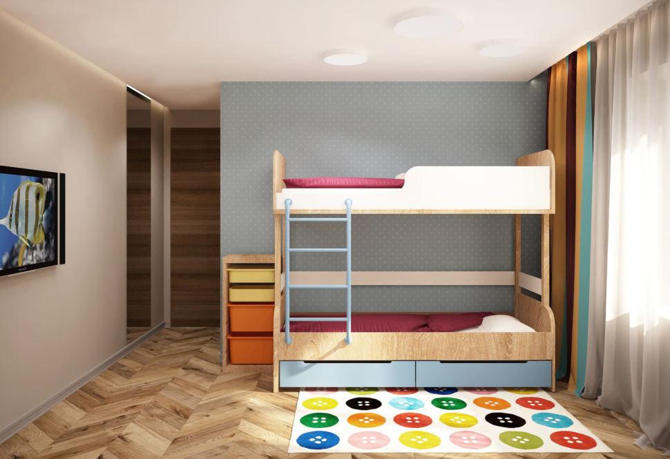 Визуализация детской комнаты в теплых тонах 15 кв.м, двухъярусная кровать, ковер, телевизор, зеркало, обои