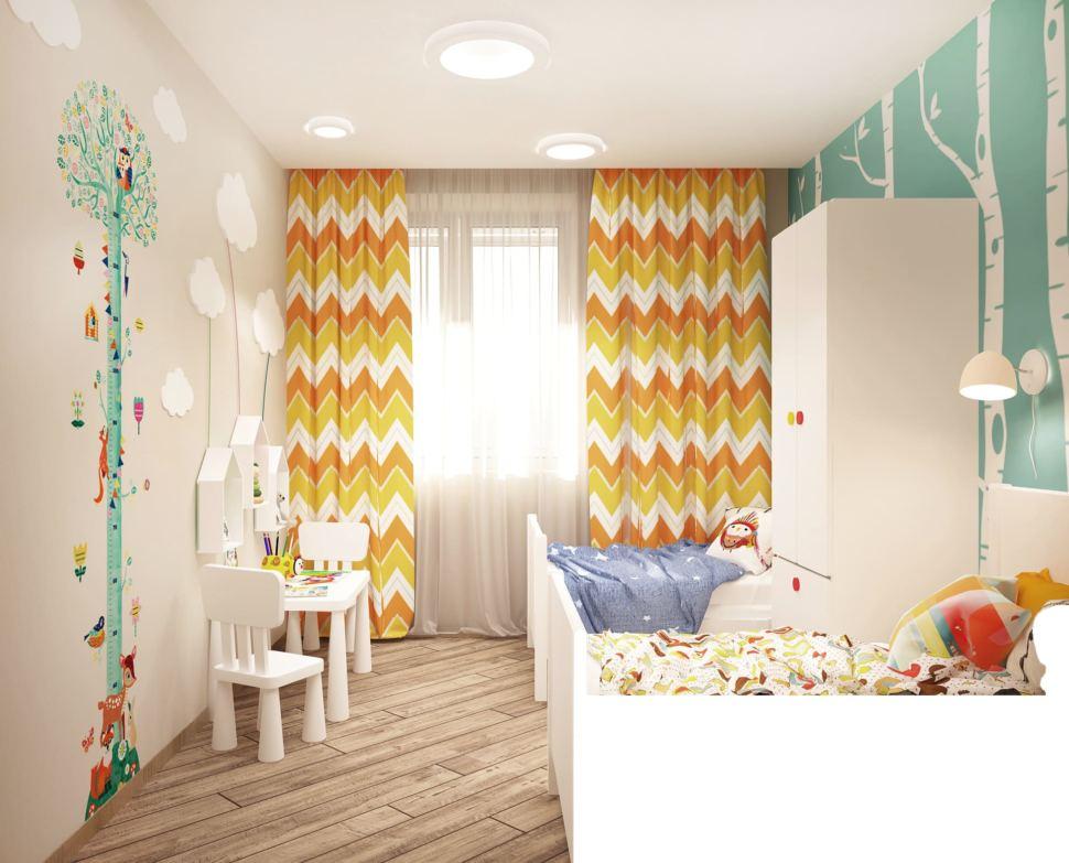 Дизайн-проект детской комнаты в теплых тонах 8 кв.м, белая кровать, шкаф, настенная лампа, белые детские стулья