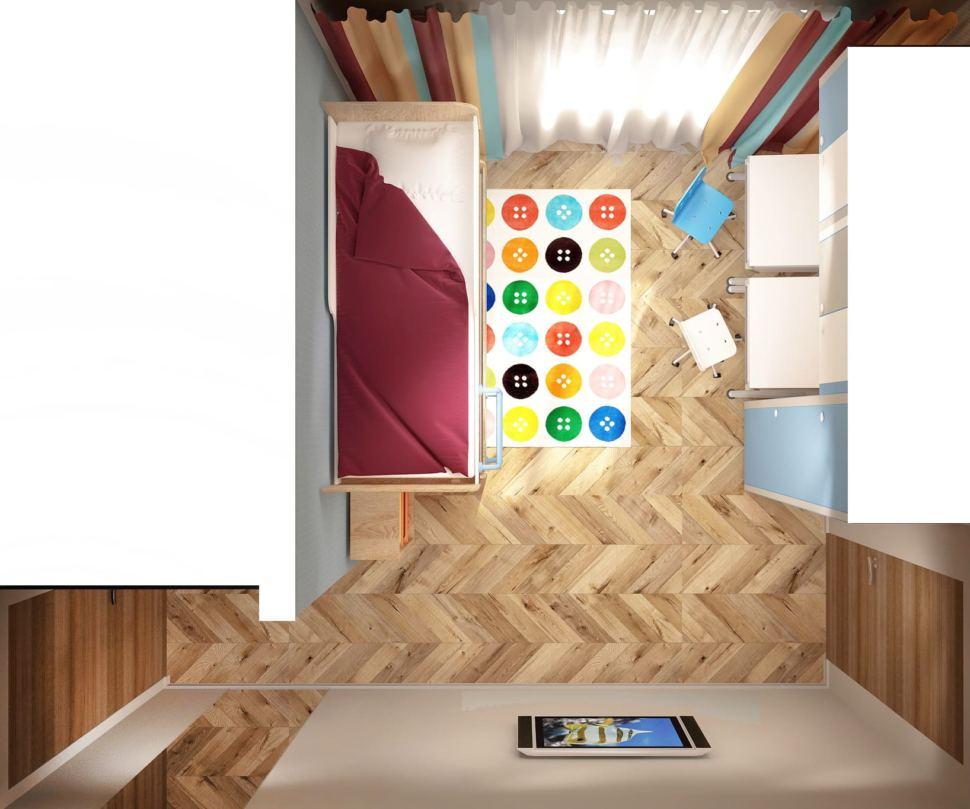 Визуализация детской комнаты в теплых тонах 15 кв.м, зеркало, телевизор, двухъярусная кровать, шкаф, рабочий стол, голубой стул