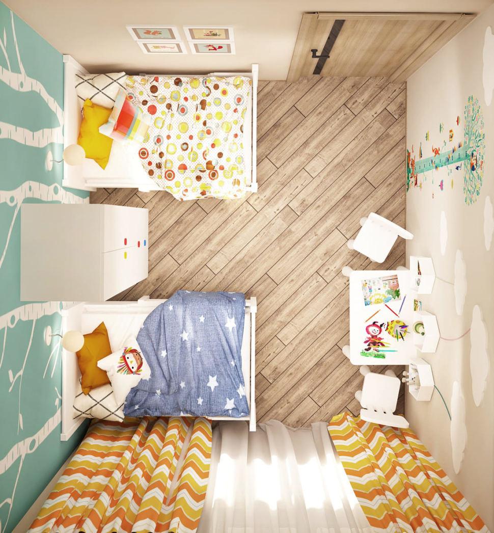 Визуализация детской комнаты в теплых тонах 8 кв.м, кровать, белый шкаф, цветные портьеры, белый детский стол, детские стулья