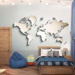 Дизайн детской для мальчика 20 кв.м в спокойных тонах, кровать, разноцветная тумба, пуф, голубые портьеры