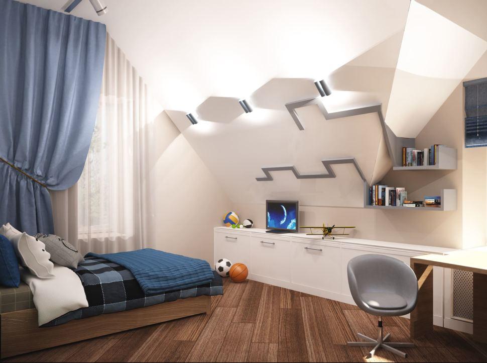 Дизайн-проект детской комнаты для мальчика 20 кв.м в коттедже с бежевыми оттенками в сочетании серо-синими оттенками, кровать