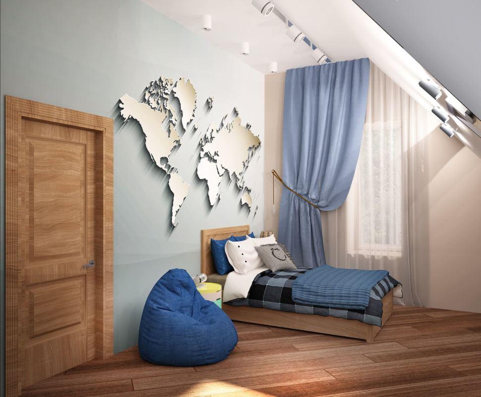 Визуализация детской комнаты для мальчика 20 кв.м в коттедже с бежевыми оттенками в сочетании серо-синими оттенками, кровать, рабочий стол