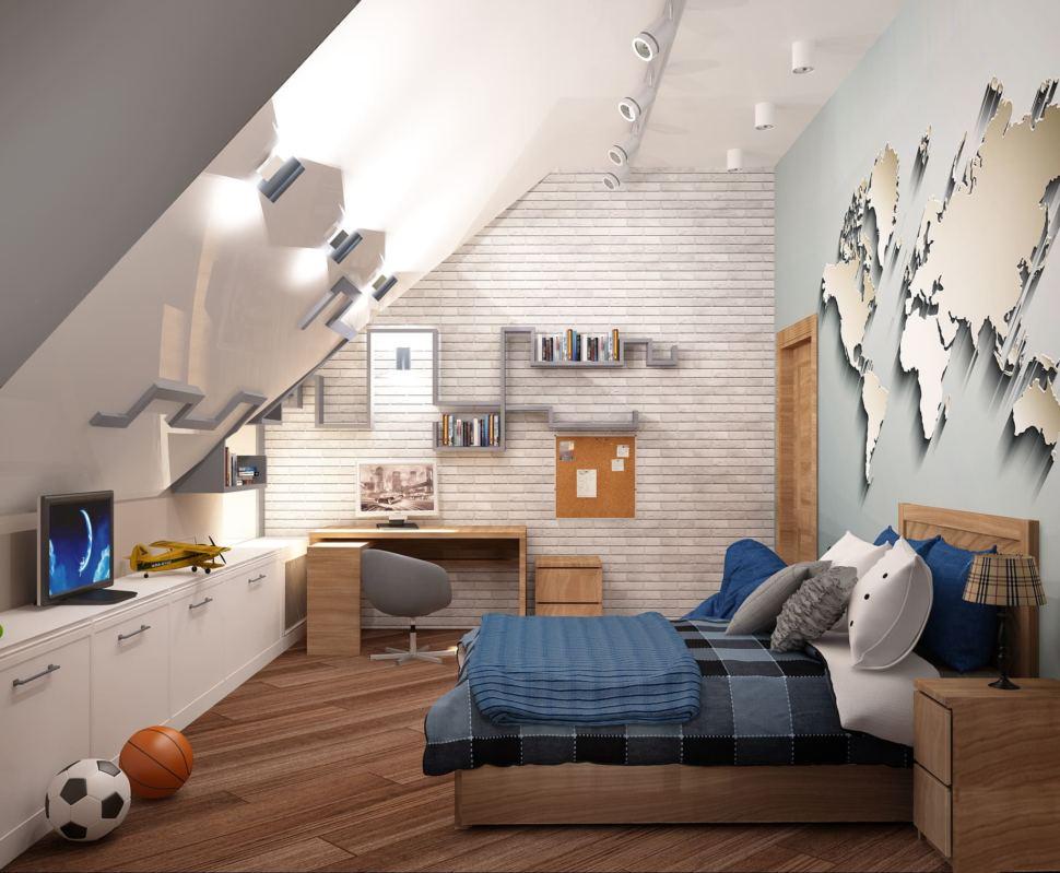 Дизайн интерьера детской комнаты для мальчика 20 кв.м в коттедже с бежевыми оттенками в сочетании серо-синими оттенками, кровать, подвесные полки