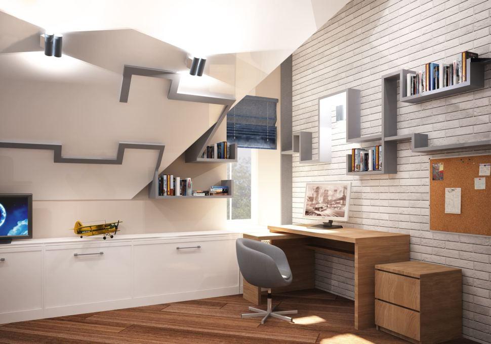 Визуализация детской комнаты для мальчика 20 кв.м в коттедже с бежевыми оттенками в сочетании серо-синими оттенками, кровать, серое кресло
