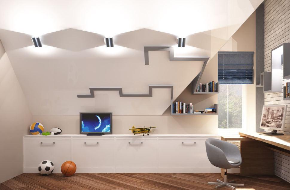 Дизайн-проект детской комнаты для мальчика 20 кв.м в коттедже с бежевыми оттенками в сочетании серо-синими оттенками, кровать, белая тумба
