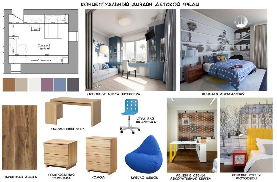 Концептуальный дизайн детской комнаты для мальчика 20 кв.м в коттедже с бежевыми оттенками, письменный стол, прикроватная тумбочка, паркетная доска
